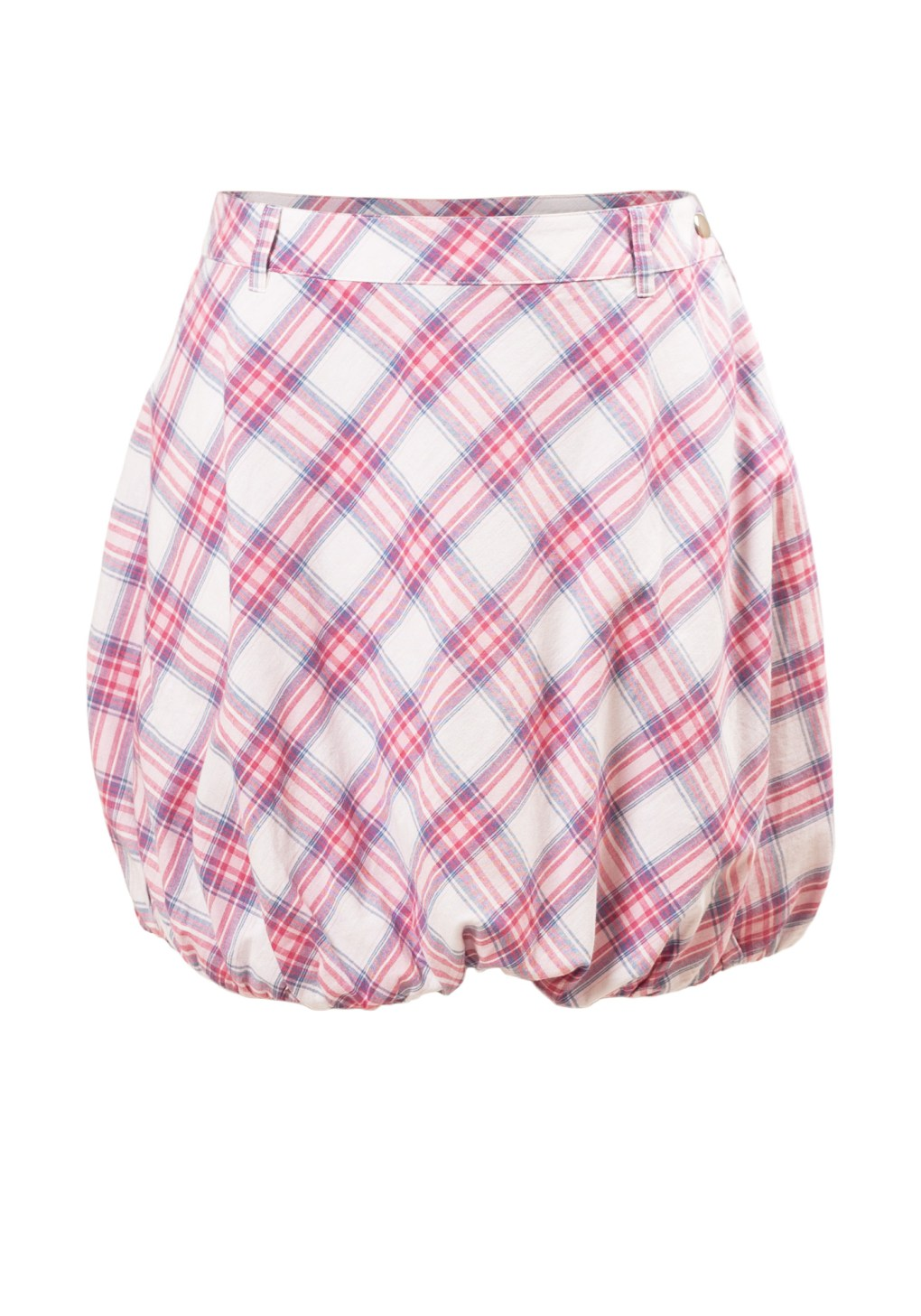 MINC Petite Girls Bubble Skirt in White, Pink and Blue Checks Cotton