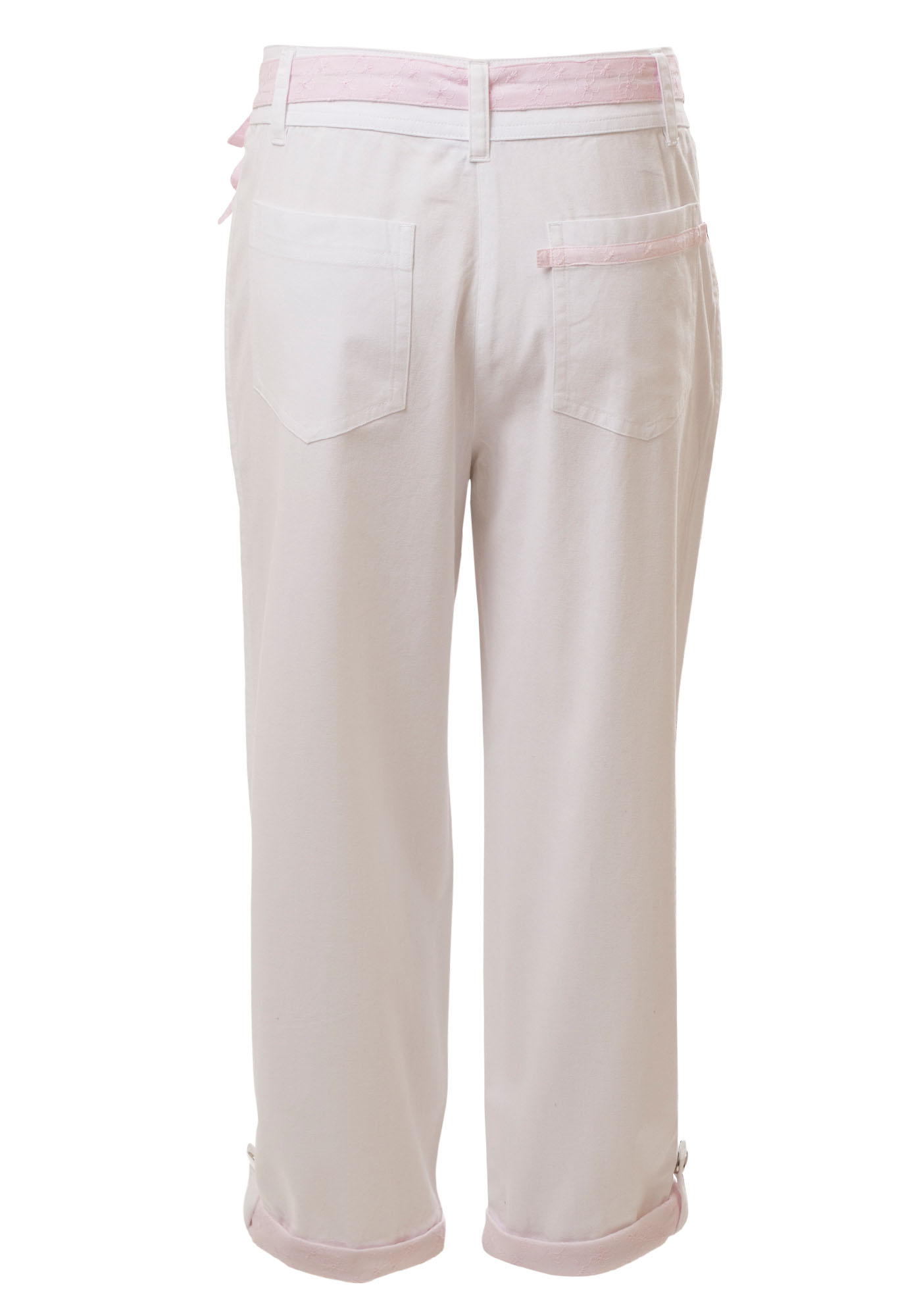 MINC Petite - Buy Pink Ice Girls Capris in White Cotton Twill Online