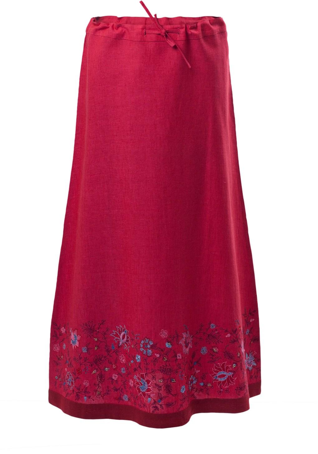 MINC Petite Raspberry Sorbet Girls Embroidered Skirt in Fuchsia Linen