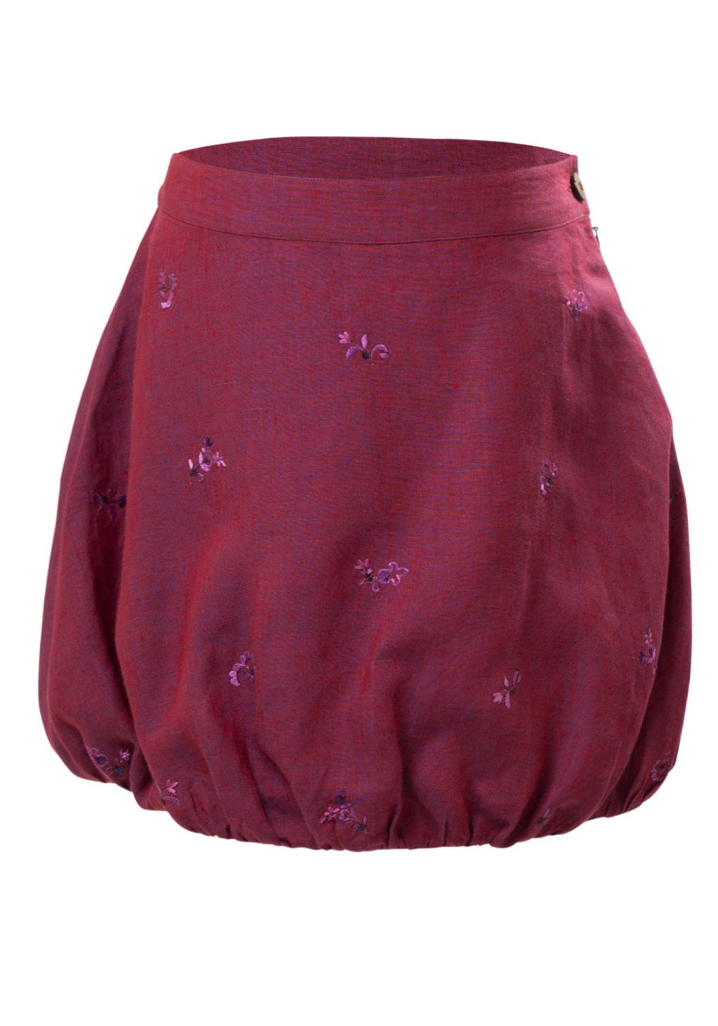 MINC Petite Sangria Girls Embroidered Bubble Skirt in Wine Purple Linen