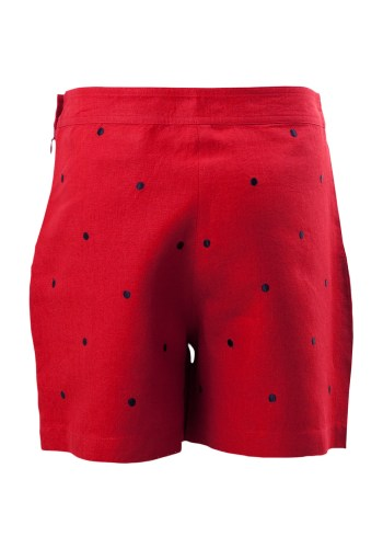 MINC Petite Strawberry Girls Polka Dot Shorts in Red Linen