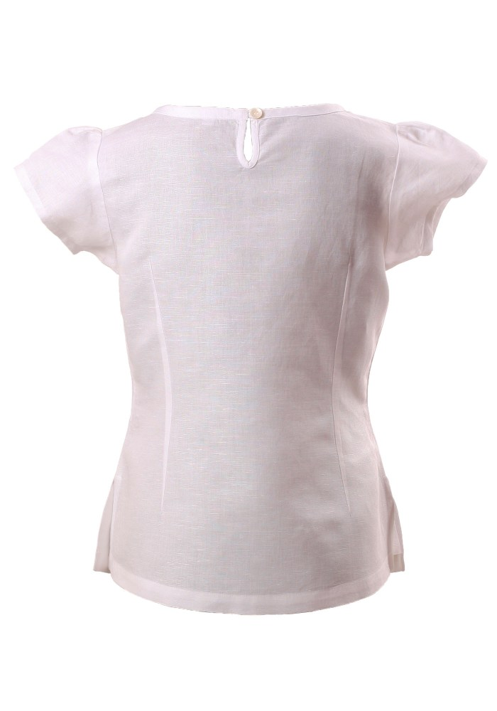 MINC Petite Floral Embroidered Girls Short Top in White Cotton Linen