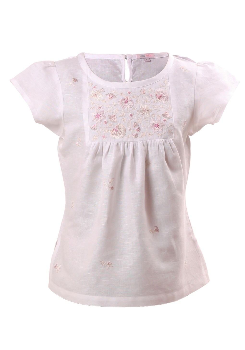 MINC Petite Floral Embroidered Girls Top in White Cotton Linen