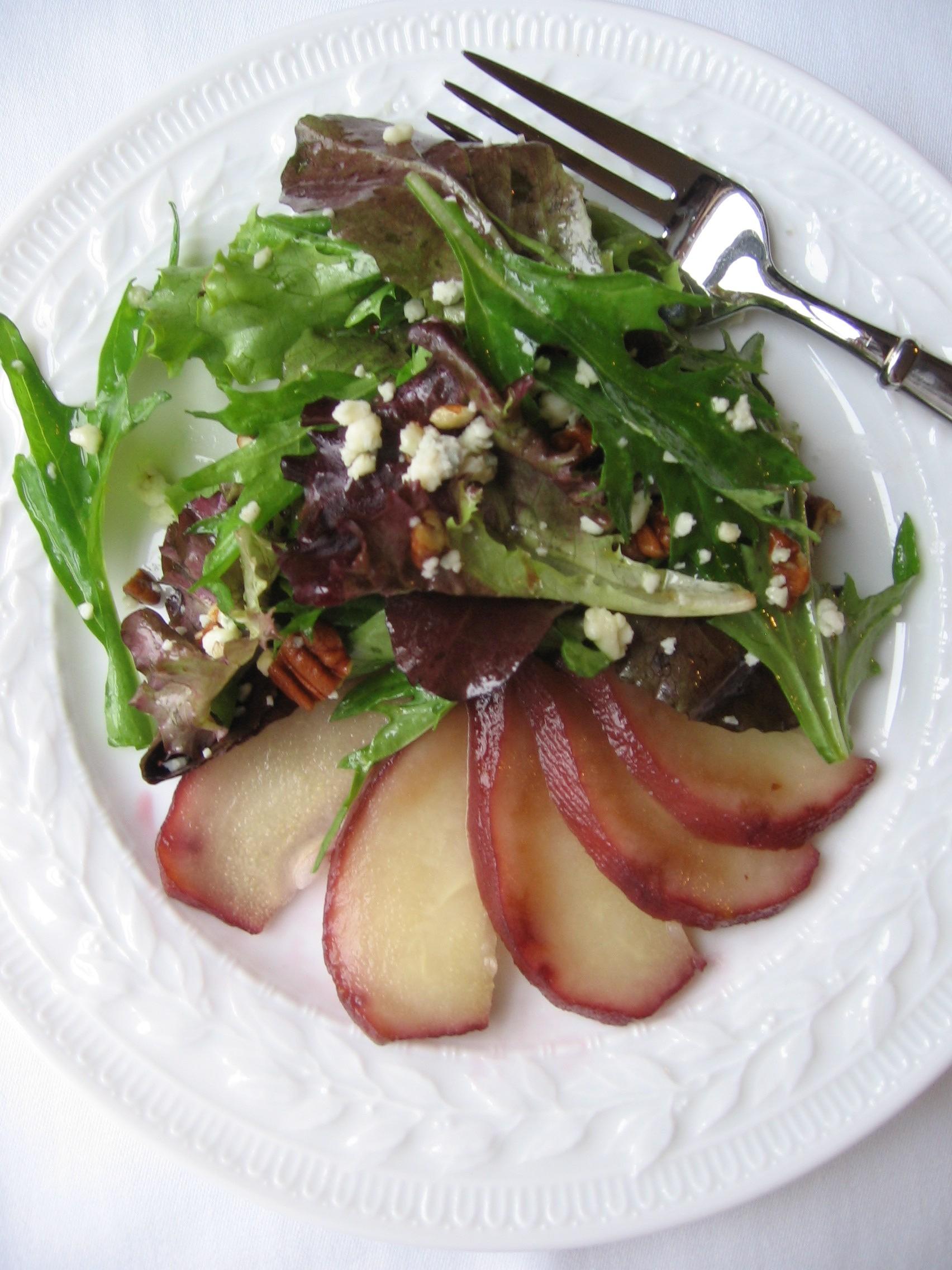 Poached Pear and Gorgonzola Salad