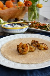 Shrimp on Whole Wheat Tortilla