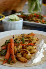 Spicy Shrimp Fajitas with Sour Cream