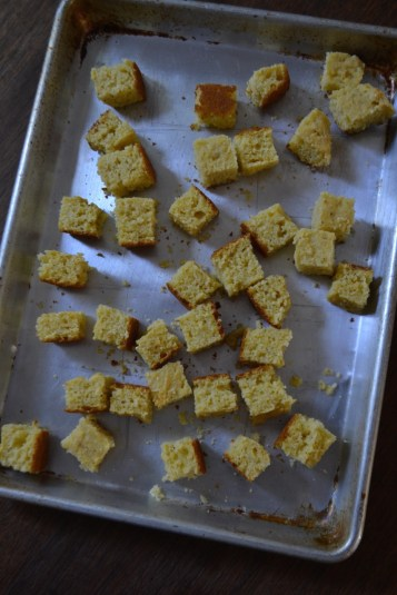 Cornbread Cubes ready for the oven