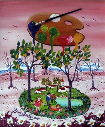 BIANCA BERTAZZONI - I colori della Primavera, 1994, acrilico su tela - cm. 60x50
