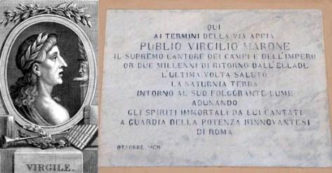 Brindisi - Virgilio e l'epigrafe sul muro che indica il luogo dove soggiornò e morì il poeta