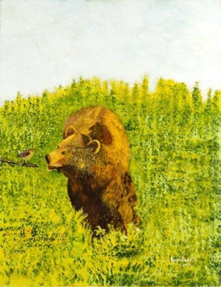 Incontro tra lo scricciolo e l'orso 2015 tecnica mista su tela 45x35