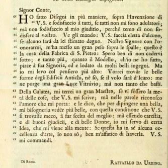 Lettera di Raffaello a Baldassarre Castiglione copia
