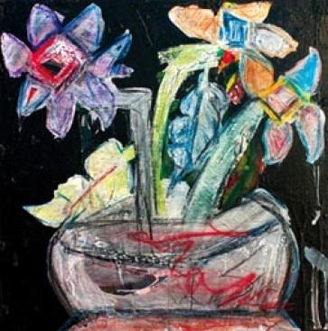LIOTTA ALESSANDRO 2009 I 3 fiori sul pianeta Giove nel 2078, tecnica mista su tavola, cm 59x58 (200).jpg