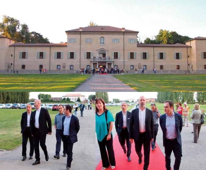 Il presidente della Regione Stefano Bonaccini e il presidente di Comer Industries Fabio Storchi mentre arrivano a Villa De Moll accompagnati dal sindaco Roberto Angeli