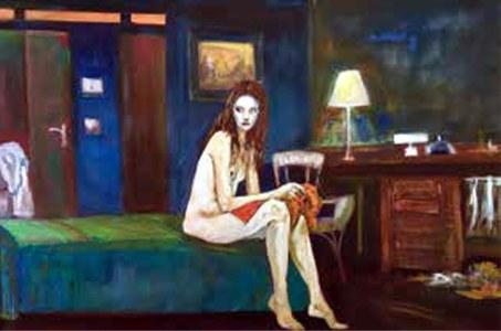 Nudo in camera da letto - 2015 (olio cm.60 x 89).jpg