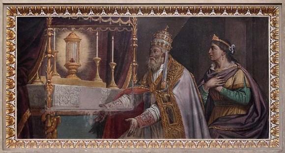 Francesco Campi, Papa Alessandro II e Beatrice di Lorena venerano la reliquia del Preziosissimo Sangue di Cristo, affresco, 1806. L_affresco si trova nella parte destra del transetto