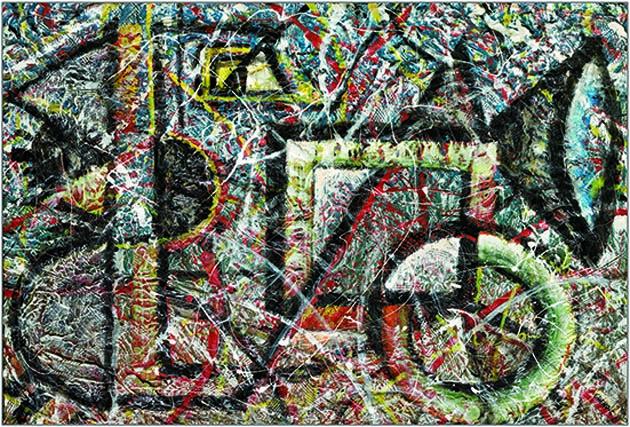 Gheno - 2005, Geometrie, acrilico su tavola, cm 63x93, (800)