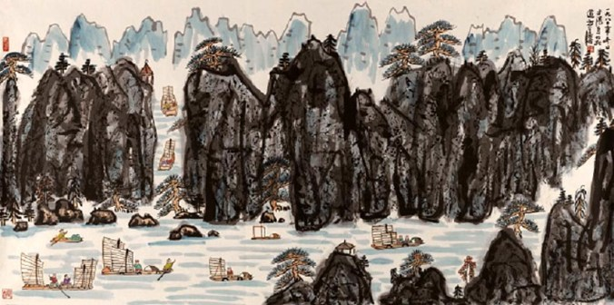51. Fang Zhaolin, Paesaggio a mano libera, 1980, inchiostro e colore su carta di riso, cm 123x248