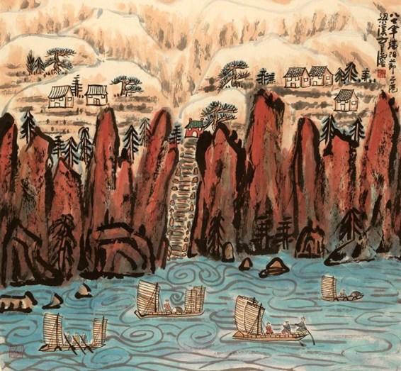 57. Fang Zhaolin, Salendo in alto al festival del battello del drago, 1987, inchiostro e colore su carta di riso, cm 86x93