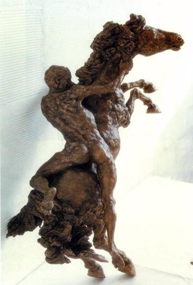 Carlo Santachiara (1937-2000) Cavallo e cavaliere, 1980, cm. 80x50x40