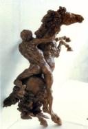 Carlo Santachiara (1937-2000) Cavallo e cavaliere, 1980, (cm. 80x50x40)