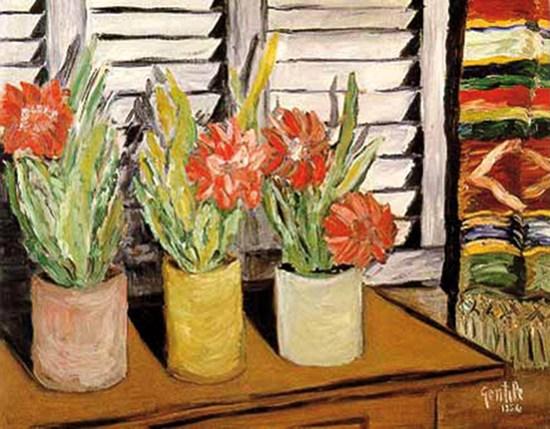 Gentile, 1956, Fiori, olio su tela, 50x62