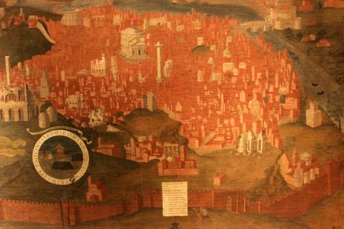 5. Anonimo, Veduta di Roma, prima metà sec. XVI, olio su tela