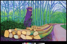 """FELLED TREES ON WOLDGATE"" 2008 OIL ON 2 CANVASES (60 X 48"" EA.) 60 X 96"" OVERALL © DAVID HOCKNEY PHOTO CREDIT: RICHARD SCHMIDT"
