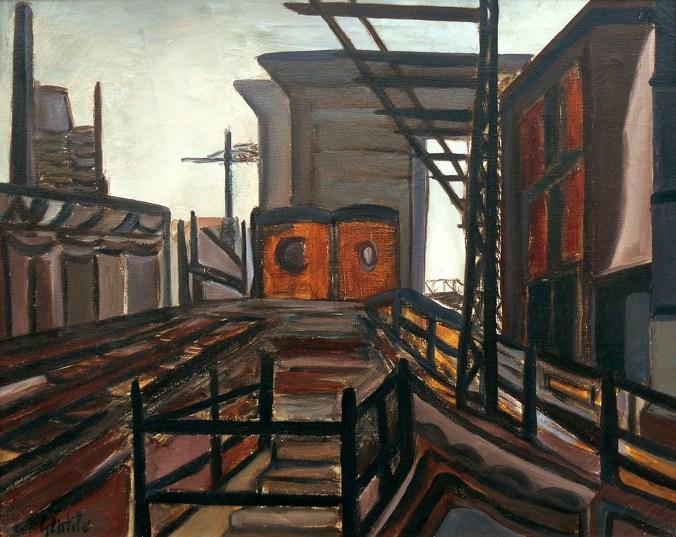 GENTILE DOMENICO - Periferia industriale, 1964, olio su tela, 40x50