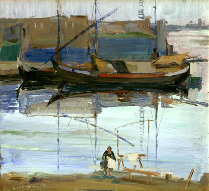 SOMENSARI LUIGI Porto Catena, 1920, olio, cm 24x25