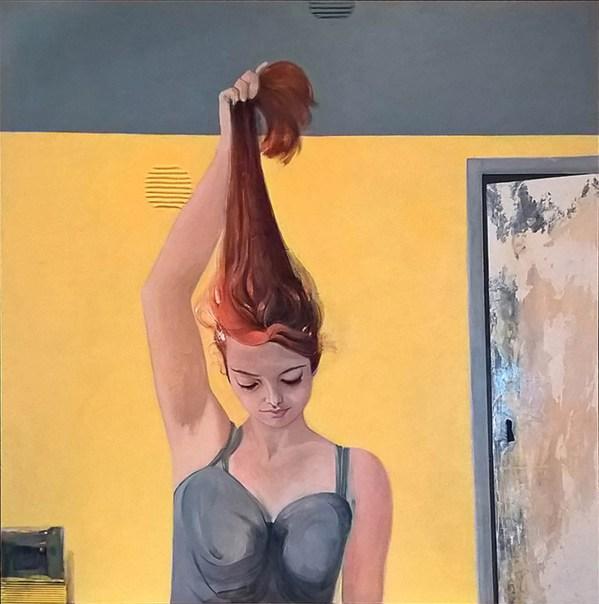 Dembech Elsa, MI TIRO SU, acrilico su tela, collage, 100x100