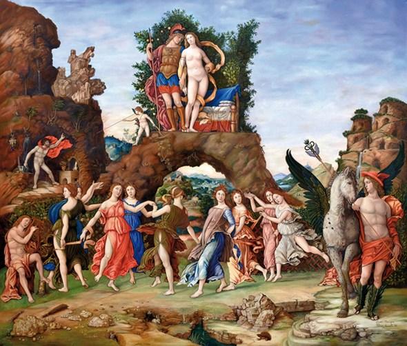 Copia del PARNASO di A. Mantegna, olio su tela, 2014, cm 192x159,5.jpg