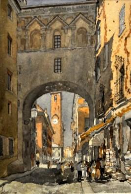 FERRARINI_Mantova_-Voltone-verso-Broletto-2000-acquerello-56_5-x-42-cm