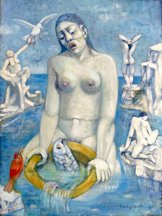 1985 ZANGRANDI - Dialogo a tre, 1985, olio su tela, cm 80x60
