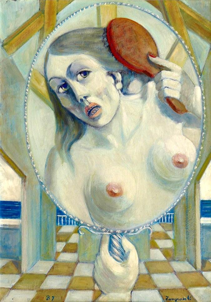 1987 ZANGRANDI - Lo specchio, 1987, olio su tela, cm 70x50