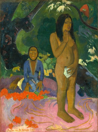 Paul Gauguin (French, 1848 - 1903), Parau na te Varua ino (Words of the Devil), 1892, oil on canvas, Gift of the W. Averell Harriman Foundation in memory of Marie N. Harriman 1972.9.12