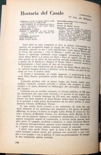 RASPELLI 100 ristoranti top 1977 Hostaria del Casale