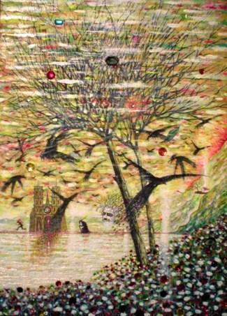 giordanon nonfarmale corvi-su-notredame-e-autoritratto-2010-tecnica-mista-72x52_.jpg