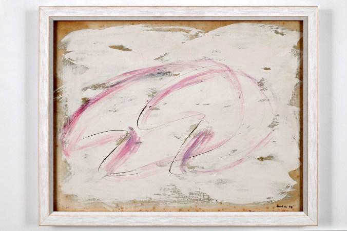 Jean Fautrier, Senza Titolo, 1957, tempera su carta applicata su tela, cm. 50x64 .jpg