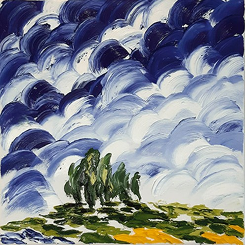 GHISLENI ANNA, Cipressi, olio su tela, cm 30x30, piccolo.jpg