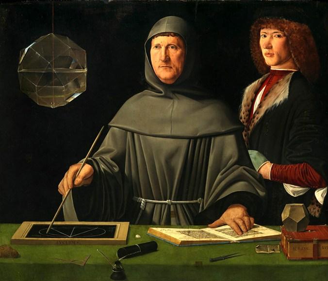 Jacometto Veneziano (), Ritratto di fra Luca Pacioli con un allievo, 1495 circa, Napoli, Museo e Real Bosco di Capodimonte..jpg