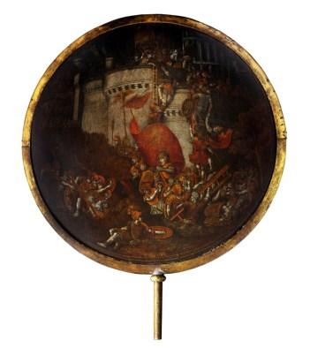 Polidoro da Caravaggio e Maturino da Firenze, Rotella di gala con presa di una città, olio su legno, secondo quarto del XVI secolo, Torino, Palazzo Madama.
