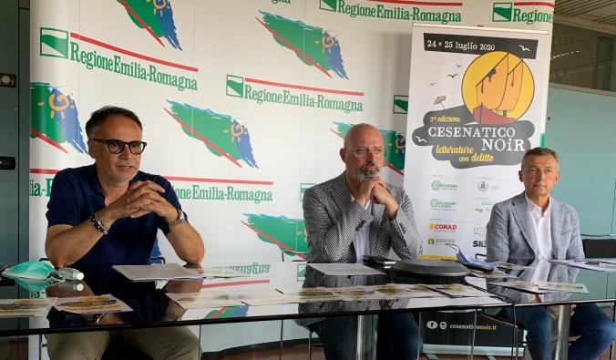 conf. stampa Cesenatico Noir con Stefano Bonaccini, Andrea Corsini, Marco Pasi