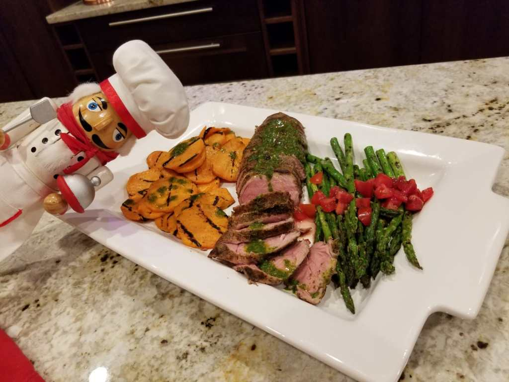 Grilled sweet potatoes, asparagus & pork tenderloin