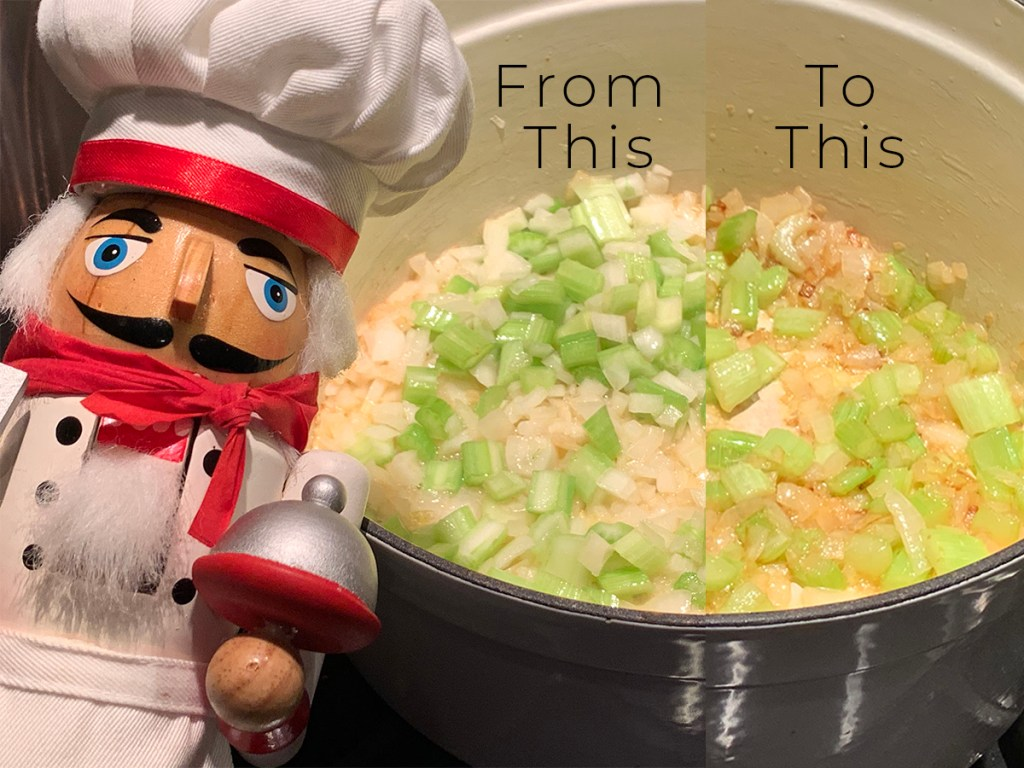 split image showing the before and after of sautéed onions and celery in a white dutch oven. There's a nutcracker who looks like a chef in the foreground to the left.