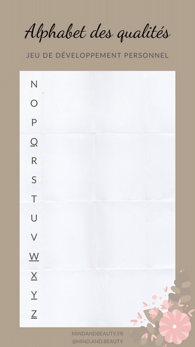 Mind and Beauty - Template jeu Alphabet des qualités 2/2