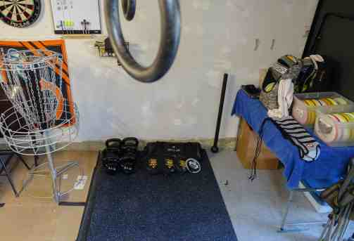 There are 15 pieces of training equipment in my small 4' x 8' space in my garage.