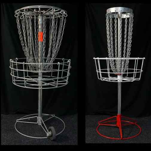 My Mach V full size basket on the left compared to the Bullseye on the right.