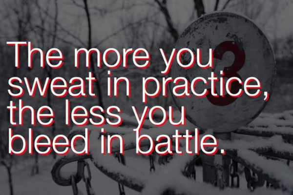 The more you sweat in disc golf practice, the less you bleed in battle.