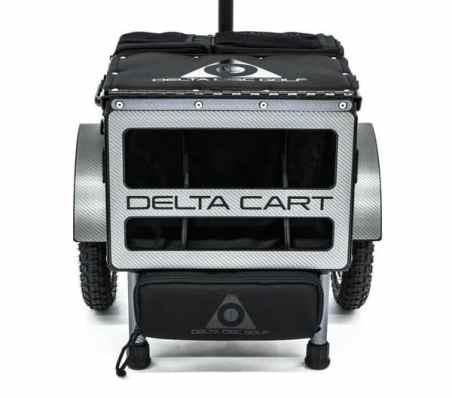 Delta 10 disc golf cart in carbon fiber wrap