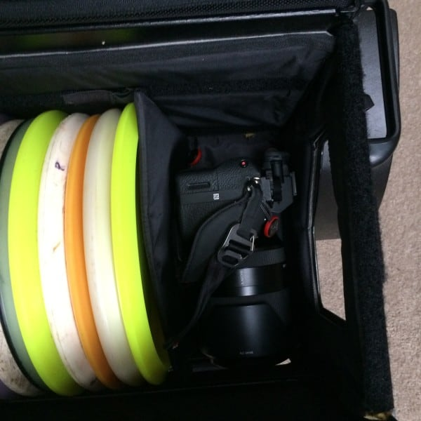 Delta Ten disc golf cart with camera stored inside